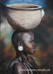 portrait au pastel sec femme africaine