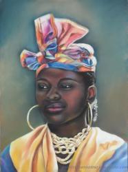 portrait antillaise pastel sec