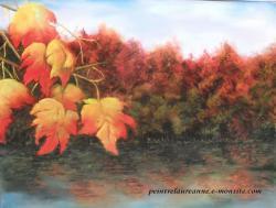 dessin au pastel sec paysage automne Bord d'eau 2