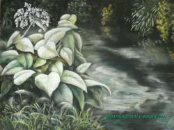 dessin de paysage au pastel sec bord d'eau