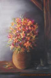 dessin bouquet de fleursau pastel sec
