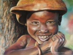enfant d'afrique au pastel sec