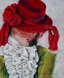 Elegante en rouge au pastel sec de la pastelliste Laure-Anne