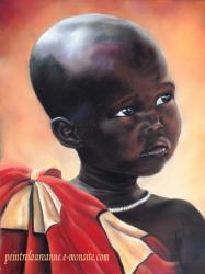 portrait d'enfant africain dessin au pastel sec sur pastel card