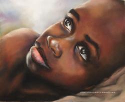 enfant africain au pastel sec