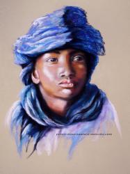 portrait pastel Enfant voile bleu