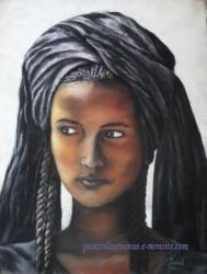 portrait au pastel sec femme-a-tresses-2-en-noir-