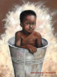 Le bain d'un enfant d'afrique