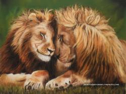 lions au pastel sec animaux felins