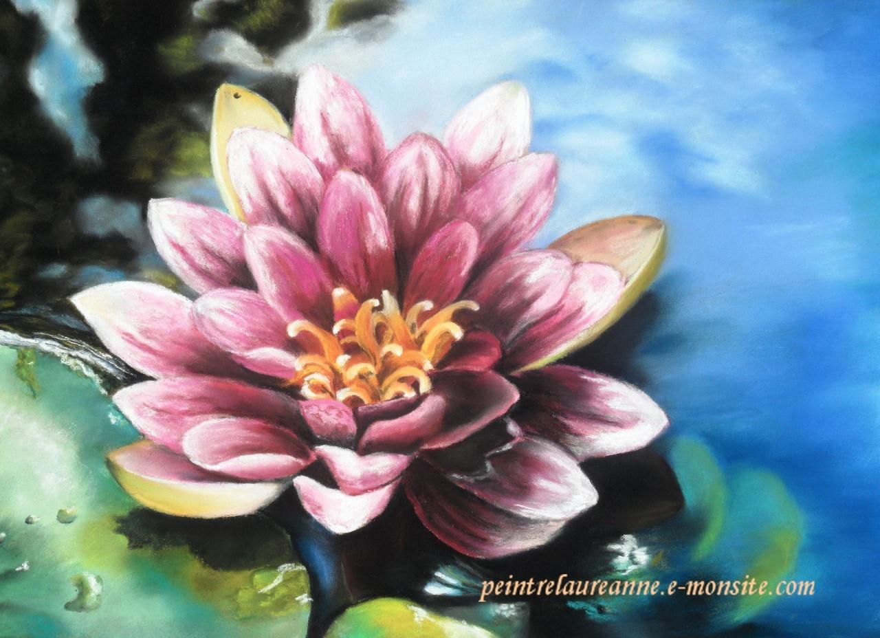 arbre fleuri pastel sec , dessin au pastel sec nenuphar