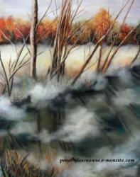 paysage brumeux dessin au pastel sec