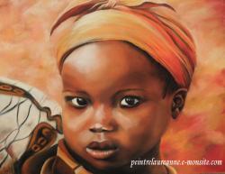 portrait au pastel sec enfant africain petite fille