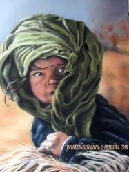 portrait dessin d'une petite fille au pastel sec