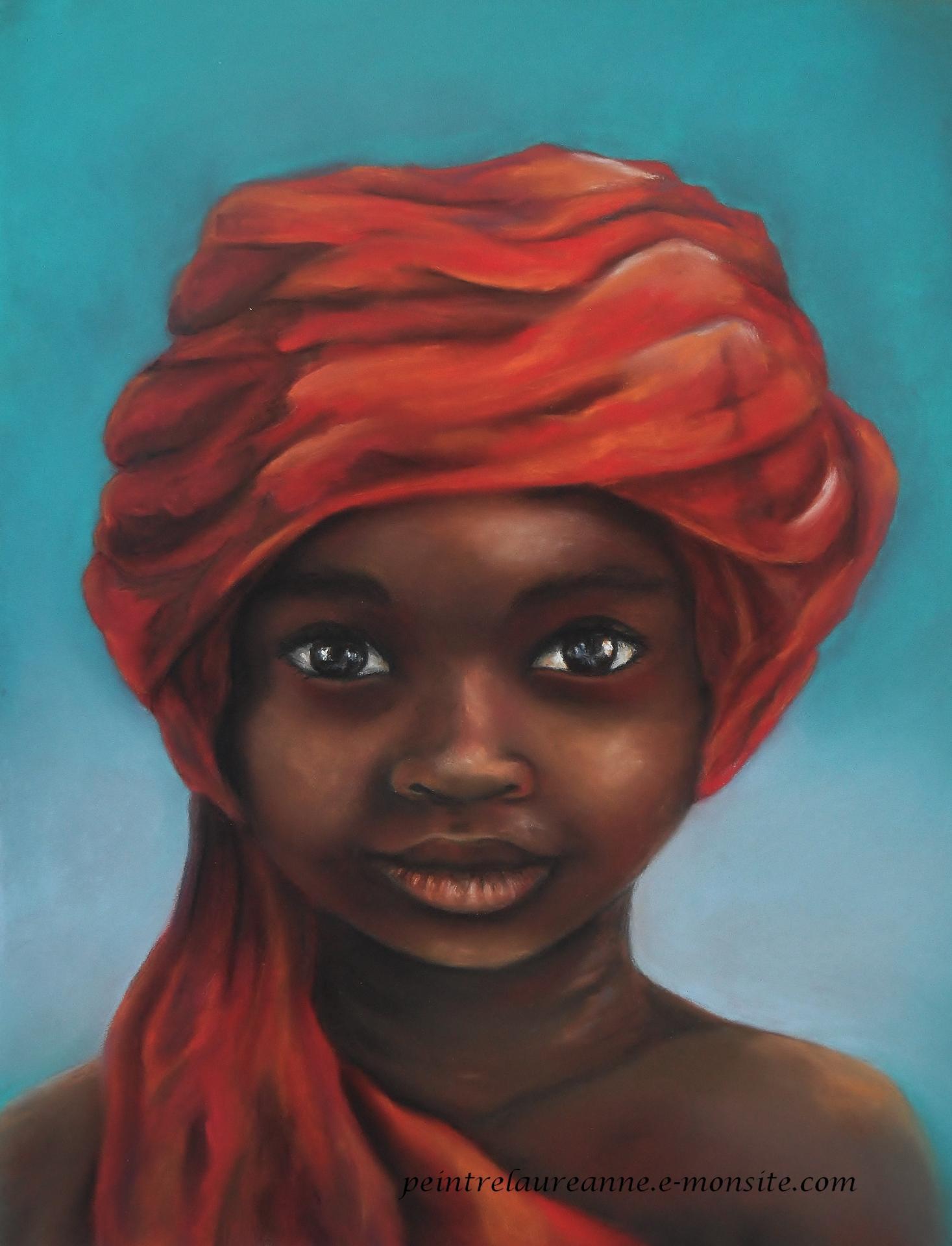 portrait au pastel sec enfant noir