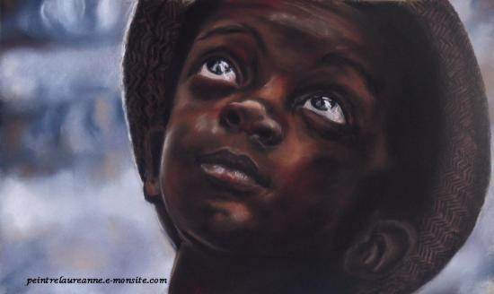 portrait pastel enfant noir