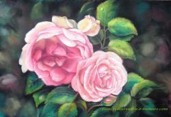 dessin au pastel sec de roses
