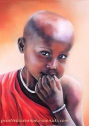 portrait au pastel sec enfant africain samru